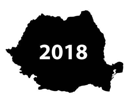 Carte de la roumanie 2018 Banque d'images - 93228563