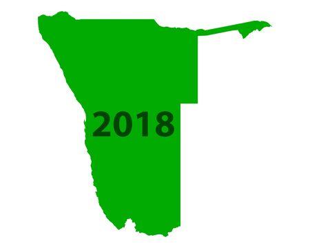 ナミビア地図 2018  イラスト・ベクター素材