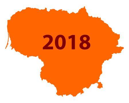 Kaart van Litouwen 2018 Stock Illustratie