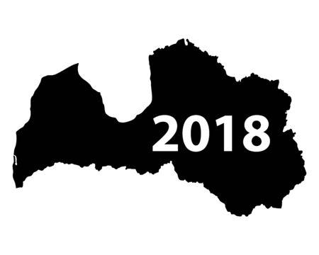 Map of Latvia 2018 Illusztráció