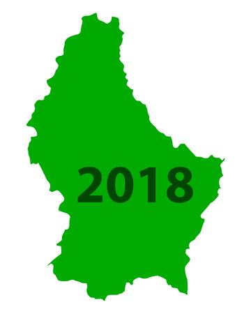 Map of Luxembourg 2018 Stock Illustratie
