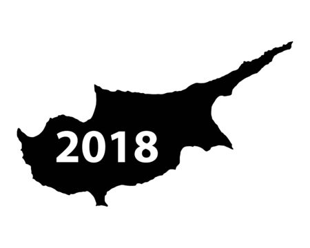Map of Cyprus 2018 in white background Ilustracja