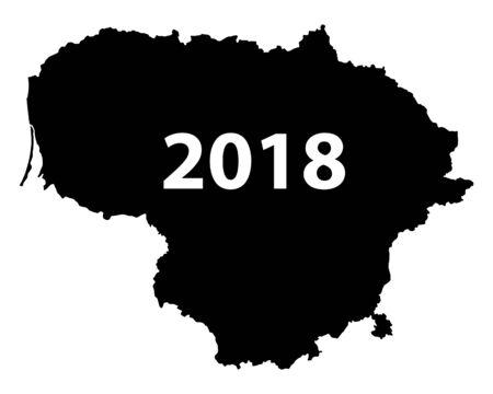 Kaart van de witte achtergrond van Litouwen 2018