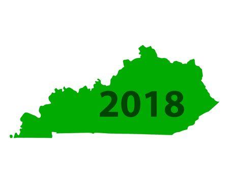 Map of Kentucky 2018 white background Illustration