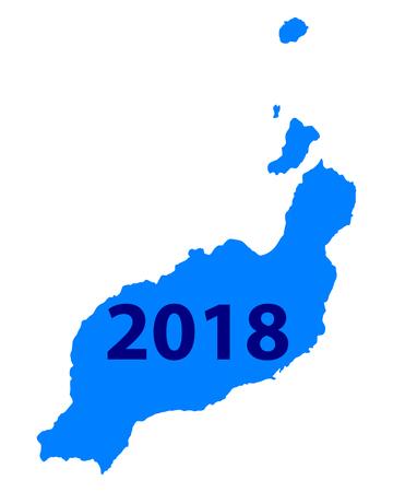 ランサローテ島 地図 2018  イラスト・ベクター素材