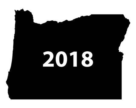 Contour map of Oregon 2018. Isolated on white background.