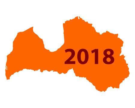 Contour map of Latvia 2018. Isolated on white background.