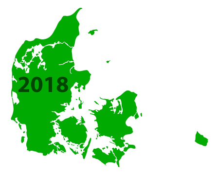 Contour map of Denmark 2018. Isolated on white background.