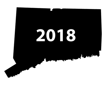 Contour map of Connecticut 2018. Isolated on white background.