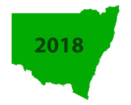 Contour map of New South Wales 2018. Isolated on white background.