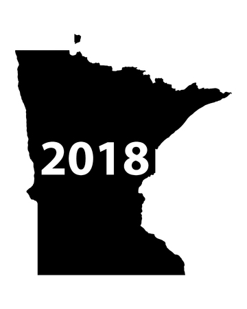 Contour map of Minnesota 2018. Isolated on white background.
