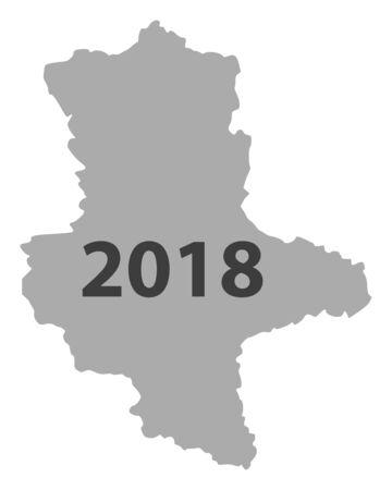 Karte von Sachsen-Anhalt 2018 Standard-Bild - 93544798