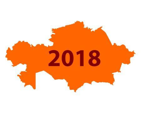 カザフスタン 地図 2018  イラスト・ベクター素材