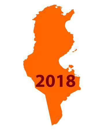 Contour map of Tunisia 2018 illustration on white background.