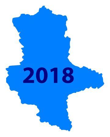 Bersichtskarte von Sachsen-Anhalt 2018 Illustration auf weißem Hintergrund Standard-Bild - 93693906