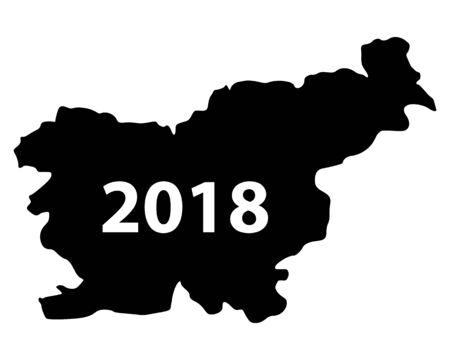 Map of Slovenia 2018 Stock Vector - 93655493