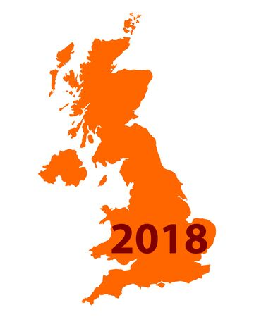 Map of United Kingdom 2018 Illustration