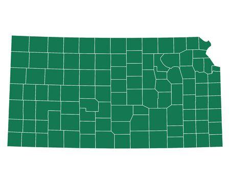 Map of Kansas Иллюстрация