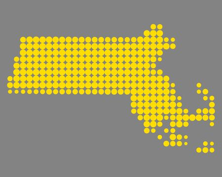 Map of Massachusetts 向量圖像