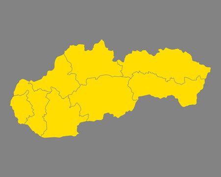 Map of Slovakia Vector illustration.