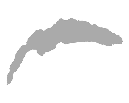 Isolated map of Lake Geneva in grey color.