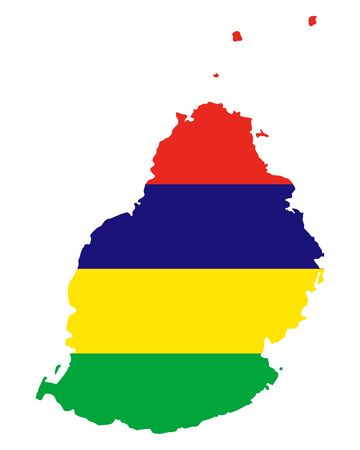 Map of Mauritius in the mauritius flags color.
