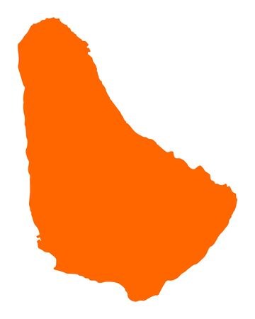 Map of Barbados in orange color.