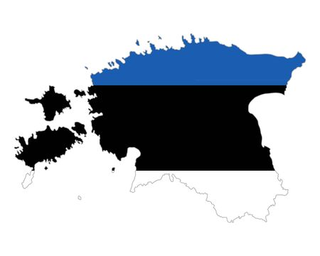 Map and flag of Estonia 向量圖像