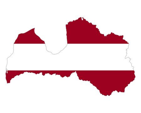 Map and flag of Latvia