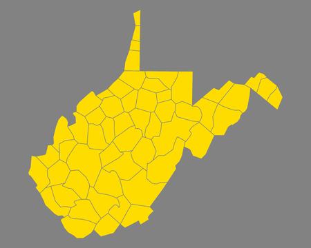 Map of West Virginia Stock Vector - 114390384