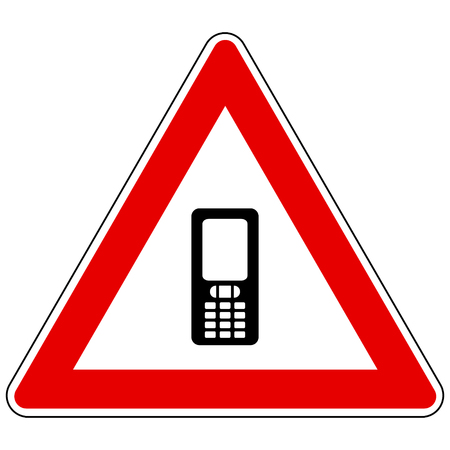Mobile phone and attention sign Foto de archivo - 117799148