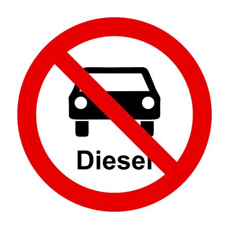 Diesel car and prohibition sign Vektorové ilustrace