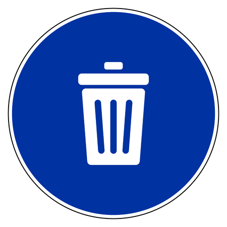 Waste bin and blue sign