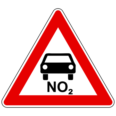 NO2 car and attention sign