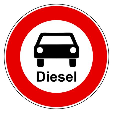 Diesel car and prohibition sign Standard-Bild - 119281167