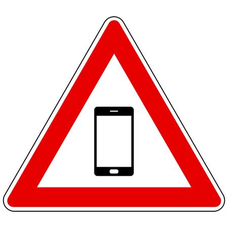Smartphone and attention sign Foto de archivo - 127457440