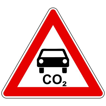 CO2 car and attention sign Ilustrace