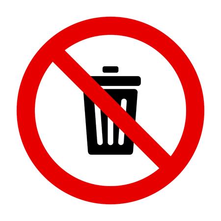 Afvalbak en verbodsteken Vector Illustratie