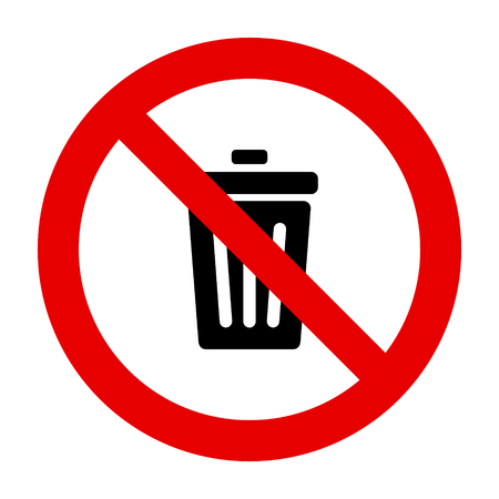 Waste bin and prohibition sign
