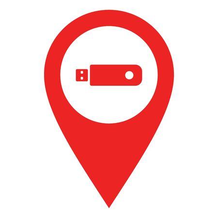 USB stick and location pin 일러스트