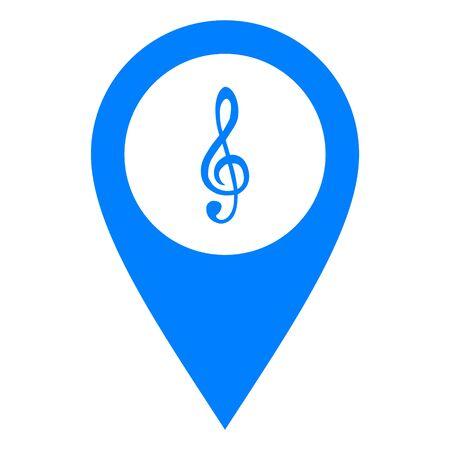 Violin clef and location pin 일러스트