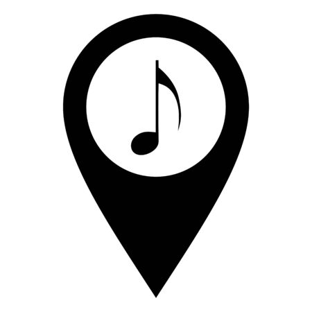 Music note and location pin 일러스트