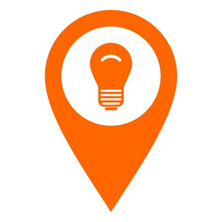 Light bulb and location pin Stock Vector - 130790284