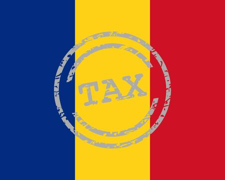 Tax stamp and flag of Romania Stock Illustratie