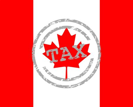 Tax stamp and flag of Canada