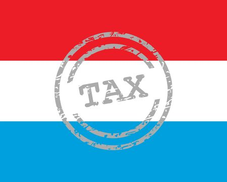 Tax stamp and flag of Luxembourg
