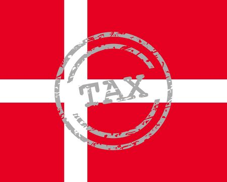 Tax stamp and flag of Denmark