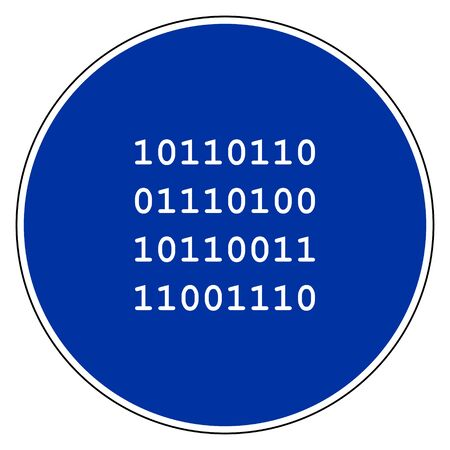 Binary code and blue sign