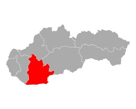 Map of Nitriansky kraj  in Slovakia Ilustracja
