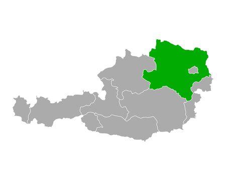 Map of Lower Austria in Austria